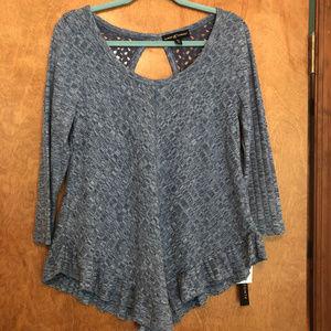 Almost Famous Blue Ruffle Hem LS Shirt